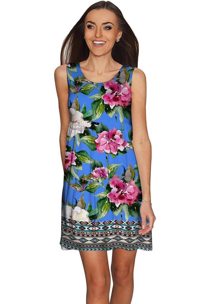 Aquarelle Sanibel Fit & Flare Blue Floral Dress - Women - Pineapple Clothing