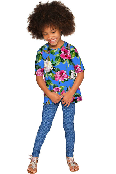 Aquarelle Sophia Blue Floral Print Cute Dressy Top - Girls