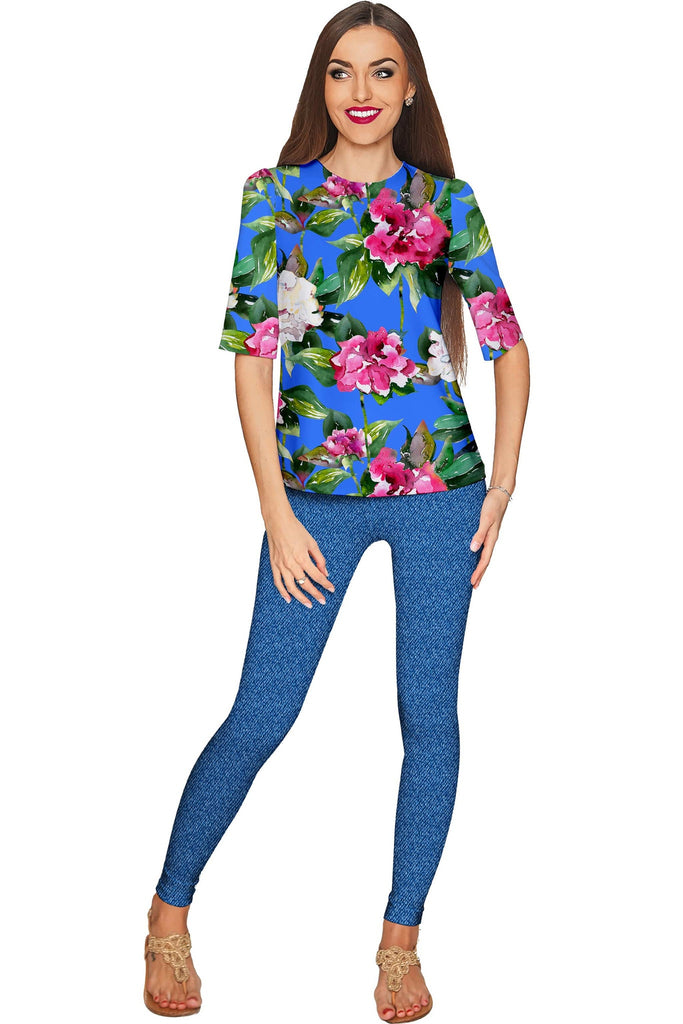 Aquarelle Sophia Blue Floral Sleeved Catchy Top - Women - Pineapple Clothing