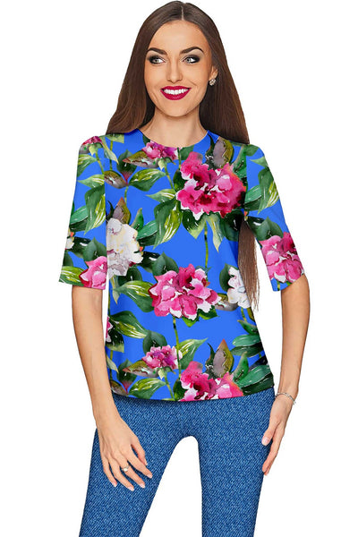 Aquarelle Sophia Blue Floral Sleeved Catchy Top - Women