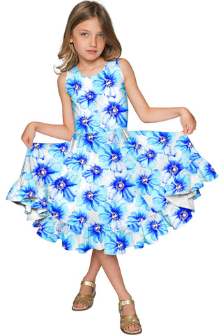 Aurora Vizcaya Fit & Flare Cute White & Blue Fancy Flower Girl Dress - Pineapple Clothing