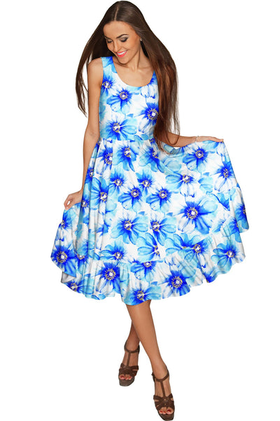 Aurora Vizcaya Fit & Flare Midi Blue Floral Dress - Women