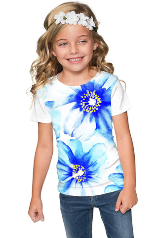 Aurora Zoe Blue Floral Print Cute Designer T-Shirt - Girls - Pineapple Clothing