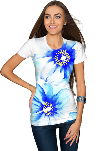 Aurora Zoe Blue Floral Print Designer Tee - Women - Pineapple Clothing
