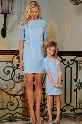 Baby Blue Crochet Lace Elbow Sleeve Party Shift Mother Daughter Dress