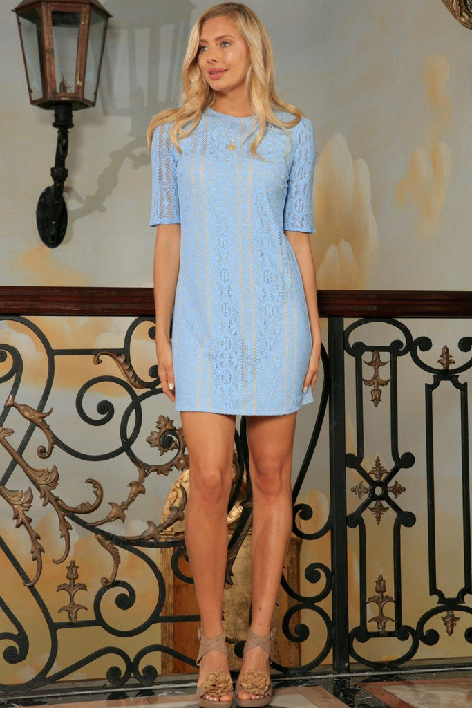 Baby Blue Crochet Lace Sleeved Cocktail Party Shift Mini Dress - Women -  Pineapple Clothing 58f9bcc8c