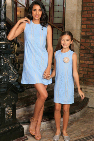 Baby Blue Crochet Lace Sleeveless Day Summer Shift Mommy and Me Dress - Pineapple Clothing
