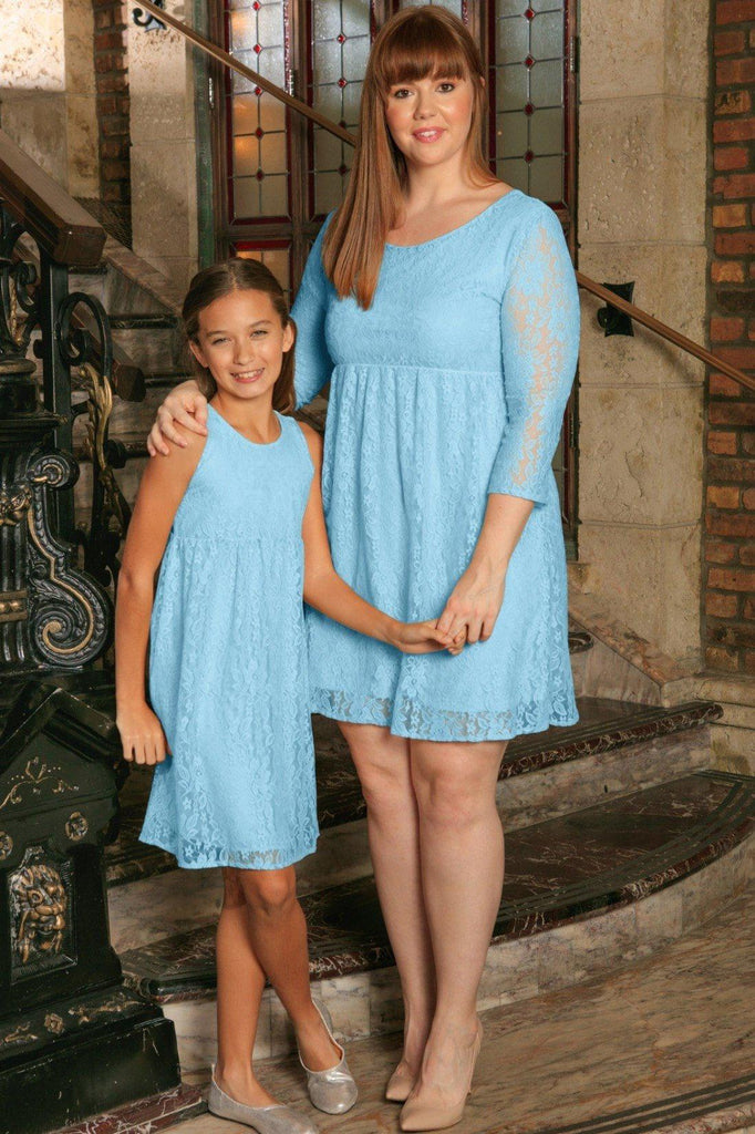 Baby Blue Stretchy Lace Beautiful Spring Empire Mommy and Me Dress Plus Size