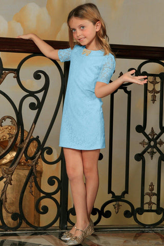 Baby Blue Stretchy Lace Cute Sleeved Summer Party Shift Dress - Girls