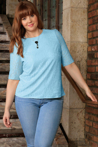 Baby Blue Stretchy Lace Sleeved Chic Sexy Dressy Top - Women Plus Size