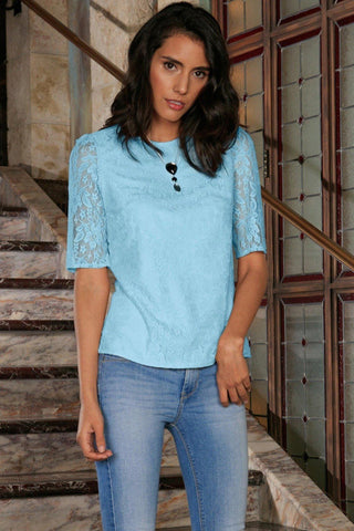 Baby Blue Stretchy Lace Elbow Sleeve Cute Trendy Dressy Top - Women