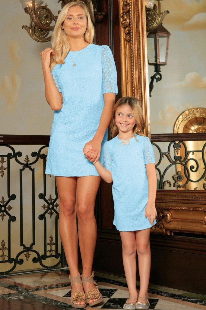 Baby Blue Stretchy Lace Elbow Sleeve Day Shift Mother Daughter Dresses