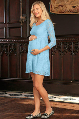 Baby Blue Stretchy Lace Empire Waist Sleeved Dress - Women Maternity