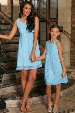 Baby Blue Stretchy Lace Empire Waist Sleeveless Mommy and Me Dress - Pineapple Clothing