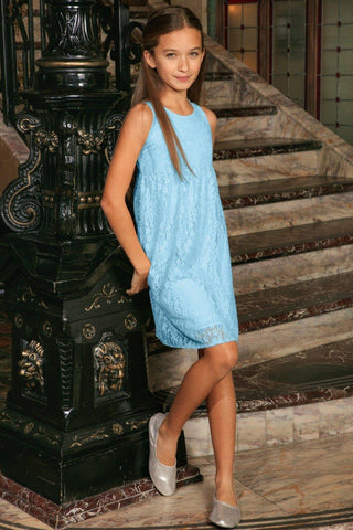 Baby Blue Stretchy Lace Empire Waist Sleeveless Party Dress - Girls