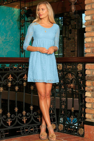 Baby Blue Stretchy Lace Empire Waist Summer Sleeved Dress - Women - Pineapple Clothing