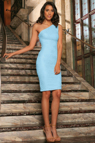291e2d15ea Baby Blue Stretchy Lace One-Shoulder Bodycon Party Dress - Women -  Pineapple Clothing
