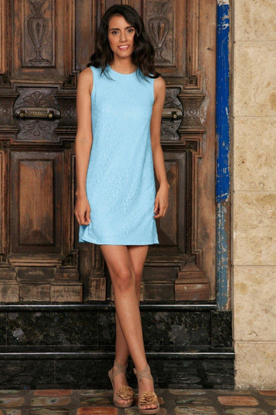 Baby Blue Stretchy Lace Sleeveless Cute Spring Party Shift Mini Dress - Women