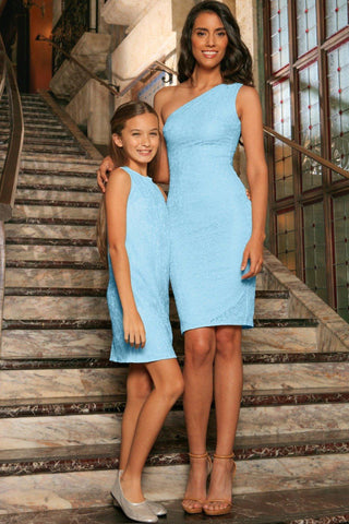 Baby Blue Stretchy Lace Sleeveless Fancy Party Mother Daughter Dress - Pineapple Clothing