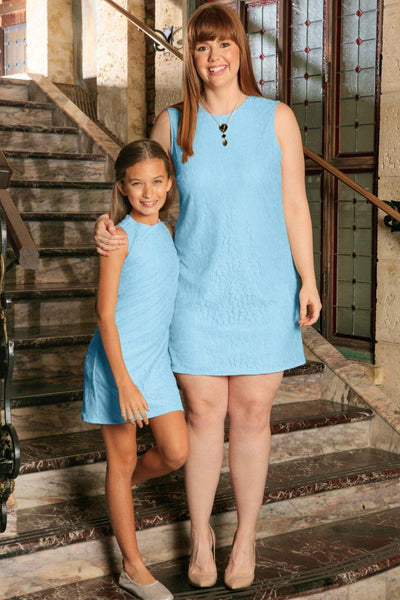 Baby Blue Stretchy Lace Sleeveless Spring Shift Mommy and Me Dress Plus Size