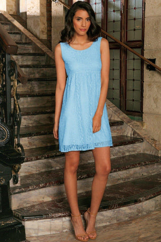 Baby Blue Stretchy Lace Summer Empire Waist Sleeveless Dress - Women