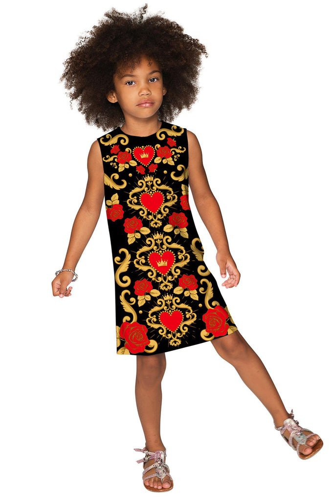 Be Mine Adele Black Sweet Hearts & Roses Print Shift Dress - Girls - Pineapple Clothing