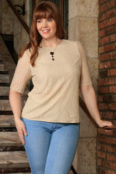 Beige Stretchy Lace 3/4 Sleeve Stylish Sexy Dressy Top - Women Plus Size