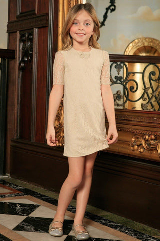 Beige Stretchy Lace Elbow Sleeve Cute Fancy Party Shift Dress - Girls