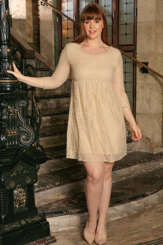 Beige Stretchy Lace Empire Waist Sleeved Curvy Dress Women Plus Size