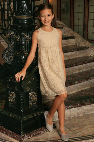 Beige Stretchy Lace Empire Waist Sleeveless Spring Dress - Girls