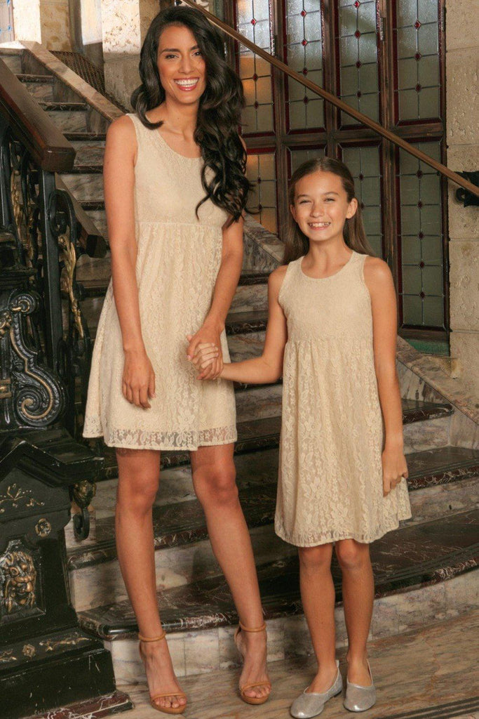 Beige Stretchy Lace Empire Waist Sleeveless Stylish Mommy and Me Dress