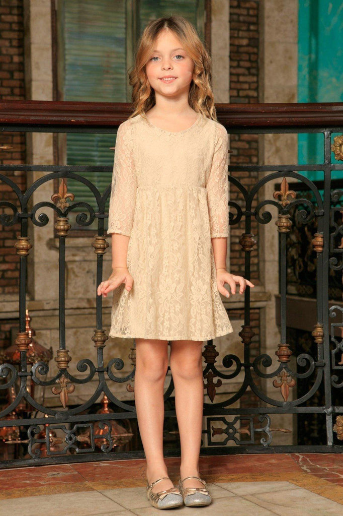 Beige Stretchy Lace Empire Waist Three-Quarter Sleeve Dress - Girls