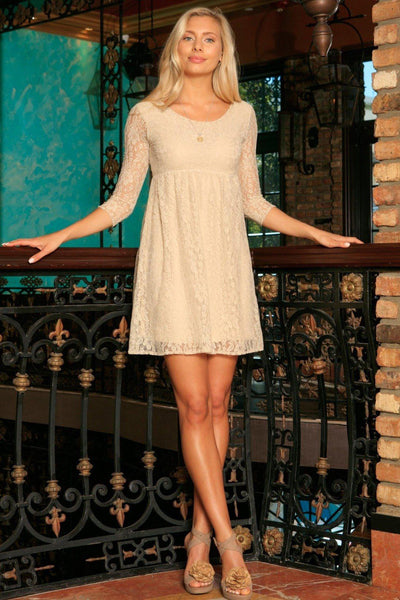 Beige Stretchy Lace Empire Waist Three-Quarter Sleeve Dress - Women
