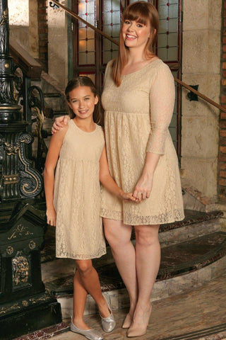 Beige Stretchy Lace Empire Waist Trendy Daytime Mommy and Me Dress Plus Size - Pineapple Clothing