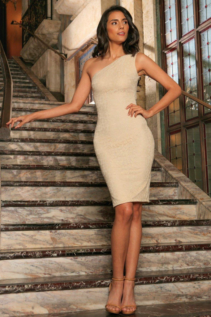 Beige Stretchy Lace One-Shoulder Bodycon Midi Dress - Women - Pineapple  Clothing 920927c58