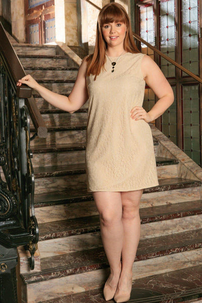 Beige Stretchy Lace Sleeveless Cocktail Sexy Shift Dress - Women Plus Size