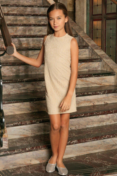 Beige Stretchy Lace Sleeveless Cute Party Spring Shift Dress - Girls