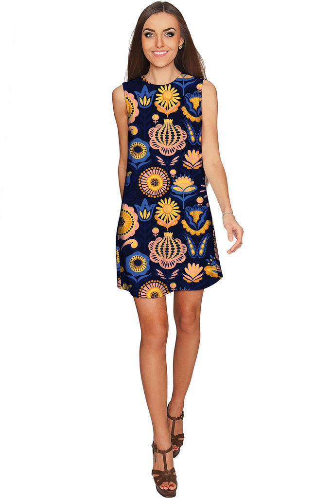 Bella Luna Adele Blue Floral Printed Party Shift Dress - Women - Pineapple Clothing