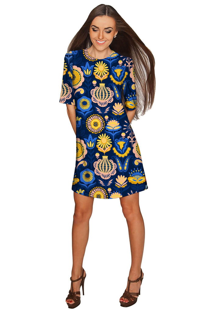 Bella Luna Grace Blue Floral Shift Mini Dress - Women - Pineapple Clothing