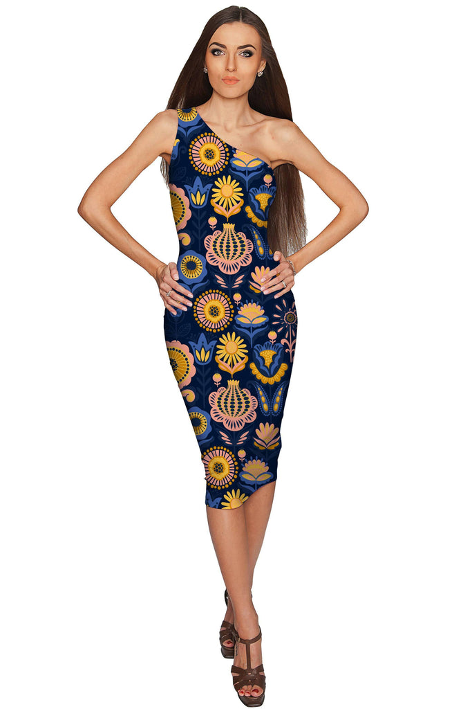 be904c156c52 Bella Luna Layla Blue Floral One-Shoulder Bodycon Midi Dress - Women -  Pineapple Clothing