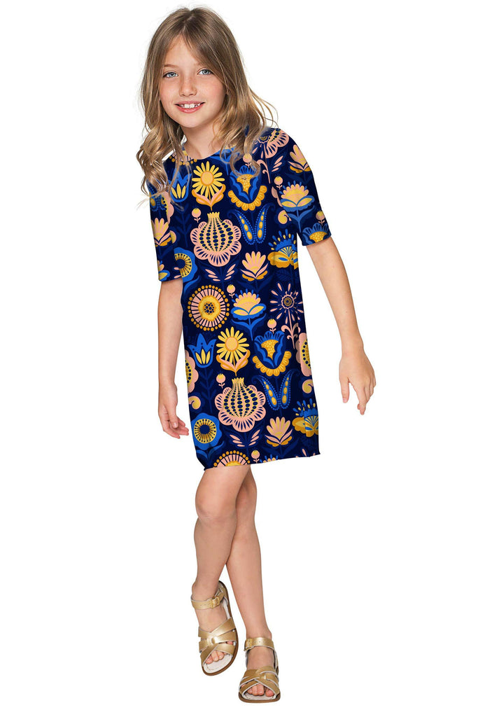 Bella Luna Grace Blue Floral Party Shift Dress - Girls - Pineapple Clothing