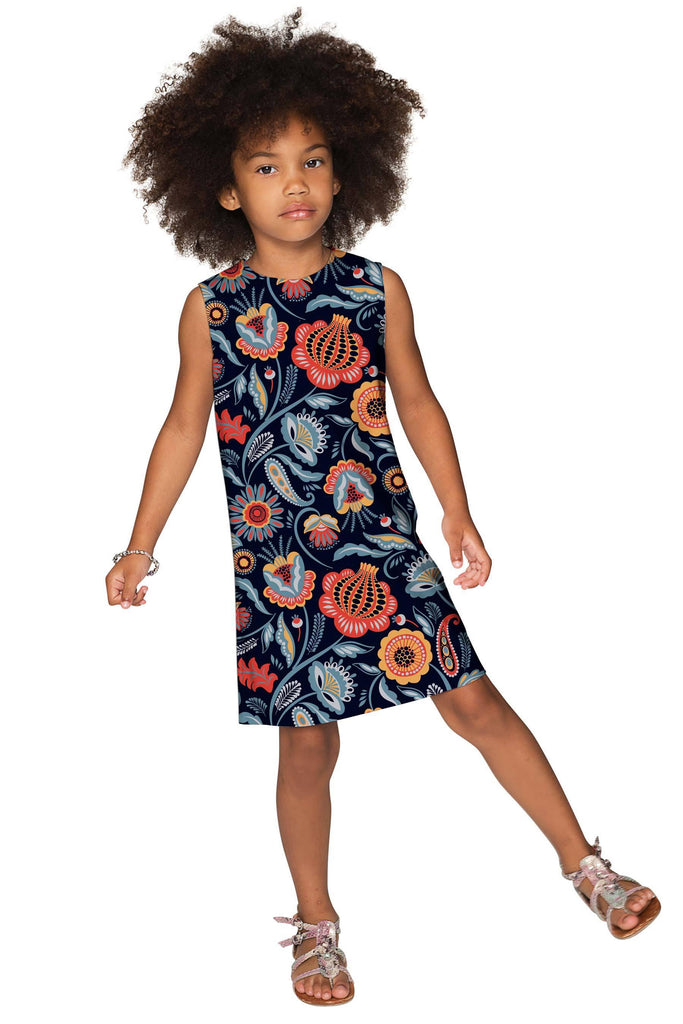 Bellibone Adele Black Floral Printed Shift Dress - Girls - Pineapple Clothing