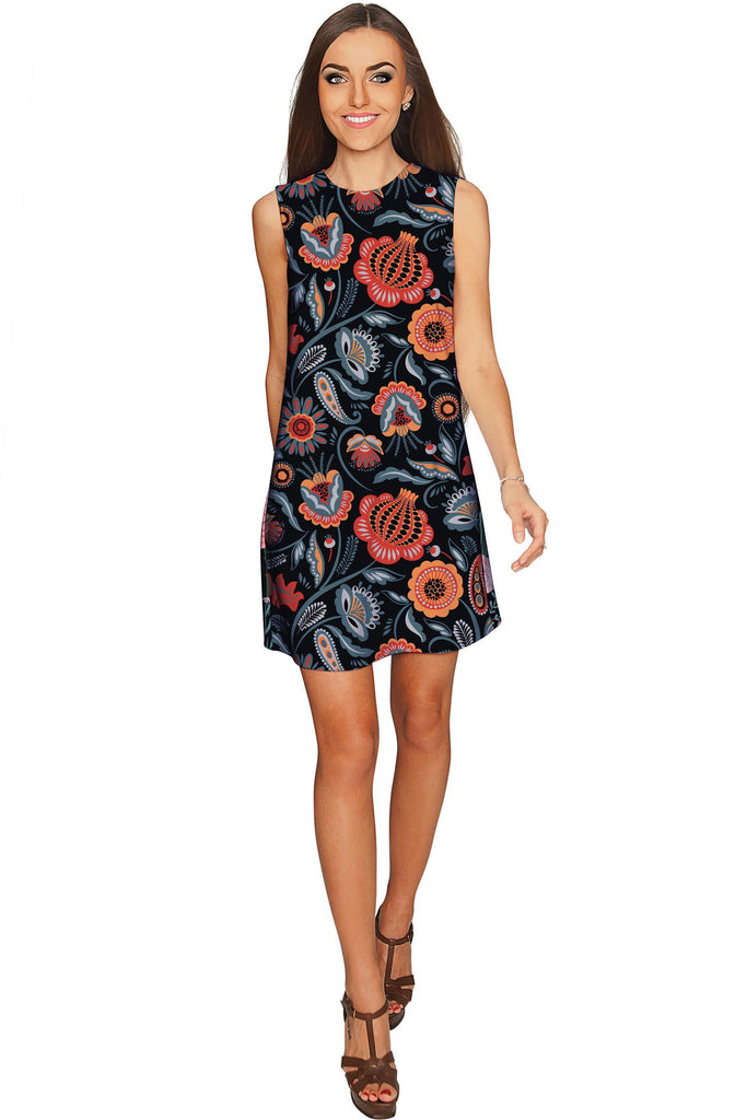 Bellibone Adele Black Floral Printed Party Shift Dress - Women - Pineapple Clothing