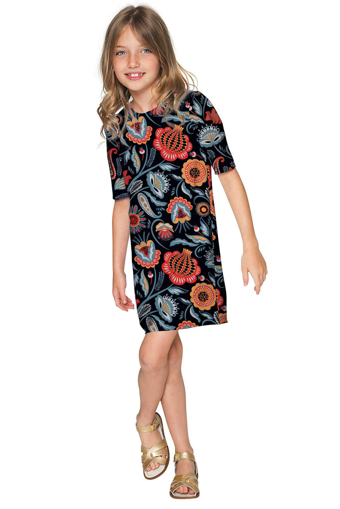 Bellibone Grace Black Floral Party Shift Dress - Girls - Pineapple Clothing