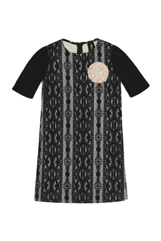Black Crochet Lace Elbow Sleeve Shift Party Princess Dress - Girls