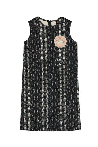 Black Crochet Lace Sleeveless Shift Fancy Cocktail Party Dress - Girls