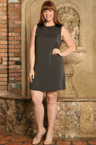 Black Grey Sleeveless Classy Trendy Shift Curvy Dress Women Plus Size - Pineapple Clothing
