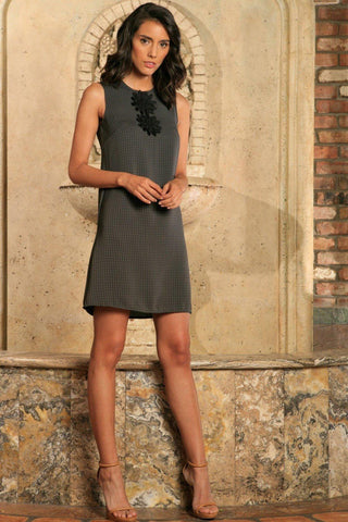 Black Grey Sleeveless Classy Fancy Party Shift Mini Dress - Women - Pineapple Clothing