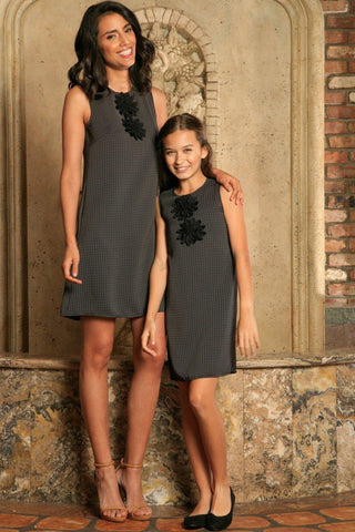 Black Grey Sleeveless Fancy Classy Party Cute Shift Mommy and Me Dress - Pineapple Clothing