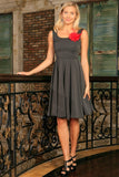 Black Grey Sleeveless Skater Classy Evening Party Midi Dress - Women